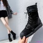 Womens Hot Suede Platform Lace Up Flats Riding Ankle Boots Vintage Casual Shoes