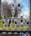 7 VINTAGE LIBBEY CHAMPAGNE FLUTE GLASSES BARWARE SILVER LEAVES FROSTED 1950s