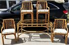 5 Piece Vintage Bamboo Rattan Glass Bentwood Dining Table With 4 Chairs