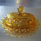 Star Amber Oval Covered Butter Dish L E Smith? LG Wright?