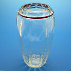 Vtg 1998 Signed Glass Vase Fluted SidesControlled Bubbles Glass CollarTop W Red