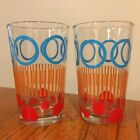 Vtg Lot 2 Mid Century Mod Geometric Water Juice Glasses Tumblers