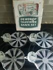 VINTAGE DEWDROP TELEVISION SNACK SET 8 PIECE SET 4 CUPS 4 PLATES IN BOX TV