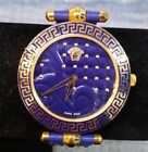 Versace Vanitos Blue Dial Gold Tone Leather Ladies Watch VK7101379