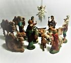 Vintage 19 Piece Fontanini Nativity Family with Embossed Spider