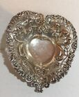 VINTAGE  RETICULATED FILIGREE STERLING SILVER HEART CANDY DISH 157 Grams