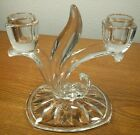 Vintage Indiana Glass Willow Oleander Double Candlesticks Crystal Candle Holder