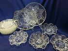 Federal Glass Pioneer luncheon set for ten, 16 pieces, large plate, ruffled bowl