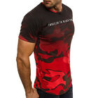 Personality Camouflage Men's Casual Slim Short-sleeved Shirt Top Blouse Red M