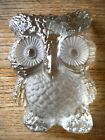 Vintage Owl Glass Viking Hand Made Kitschy Decor clear Flea Market Paperweight
