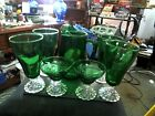 anchor hocking forest green ice tea tumblers bubble style and pitcher two sherbe