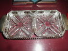 Antique crystal glass server with sterling silver tray perfect condition