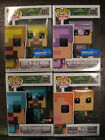 MINECRAFT Funko Pop Lot of 4 Alex,Steve in Diamond Armor,Gold Armor