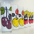 VINTAGE L. ELLIOTT RETRO MID CENTURY FRUIT MOTIF HIGHBALLTUMBLERS GLASSES~6 pcs