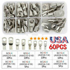 60PCS Wire Terminals SC Tinned Copper Lug Ring Wire Connectors Bare Terminals