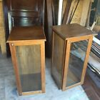 DISPLAY TWO CASE OAK CABINET  THREE SIDES GLASS WITH KEY