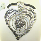 New Extra Large Heart Filigree Antique Silver Pendant Choker Necklace 18 24