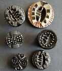 #3M Victorian Lot 6 Black Glass Hair Combs Inanimate Objects Bowtie Buttons