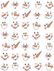 5 8 inch Snowman Faces Waterslide Craft  wood ceramic ornaments Decals