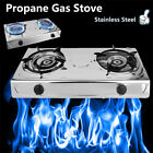 2 Burner Stove Gas Propane Range Tempered Ignition Camping Outdoor Stainless MY