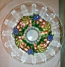 Indiana Glass Round Footed Flared Bowl Garland Flashed Blue Grapes 11 5/8