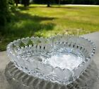 Hofbauer Clear Crystal Large Glass Dish Heart Shaped Bird Engraved Germany