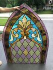 Antique arched stained glass window church 160 year old 1858