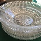 (4) Bowls Dishes Button Cane Pattern Mid Century Vintage Federal Glass Windsor