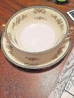 TWO  CREAM SOUP BOWLS AND SAUCERS - MEITO CHINA  HAND PAINTED IN JAPAN 1940