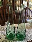 Vintage Emerald Green Glass Tapered Teardrop Candle Holder 11