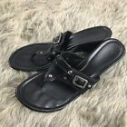 Cole Haan Womens Black Leather Thong Wedge Slide Sandals Shoes Womens Size 10