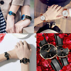 Couples Lovers Stainless Steel Leather Strap Analog Waterproof Wristwatches Gift
