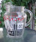 VINTAGE AMISH DESIGN GLASS PITCHER ROOSTER HEX SIGN TULIPS PENNSYLVANIA DUTCH