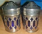Antique Silver toned Cobolt Blue Salt And Peper Shakers