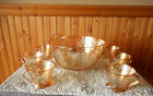LOT OF 5 JEANETTE MARIGOLD CARNIVAL SQUARE BASE CUPS BOWL AND 6 CUPS FLORAL