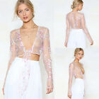 US New Women See through Lace Mesh Sheer Long Sleeve Crop Top T Shirt Blouse Tee
