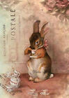 RABBIT*BUNNY*EASTER ANY TIME*POSTCARD COLLAGE*QUILT ART FABRIC BLOCK
