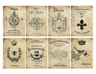 8 Shabby Chic Old French ATC Cards Hang Tags Scrapbooking Paper Crafts 156