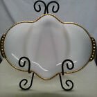 VINTAGE FIRE KING WHITE MILK GLASS DIVIDED RELISH TRAY TRIMMED IN GOLD