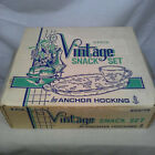 NIB Anchor Hocking 8 Piece Vtg Snack Set - 4 Glasses, 4 Trays - Grapes