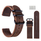18 20 22 24mm 3 Ring Genuine Leather Watch Band Military Sport Belt Wrist Strap