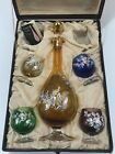 Vintage Bischoff Brandy Venetian Glass Gold Hand Painted set original box