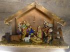 Vintage Nativity Set Manger Scene 10 Figures Stable hand painted flame maple