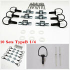 Motorcycle Race 10 sets 1/4 Turn Quick Release Race Fairing Fasteners Black 17mm