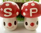 NIB Cram Cream Ceramic Anthropomorphic Mushroom SALT AND PEPPER SHAKERS Japan