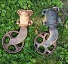 ANTIQUE INDUSTRIAL FACTORY CART VTG COFFEE TABLE CAST IRON METAL WHEEL CASTERS