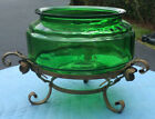 Anchor Hocking Forest Green Fish Bowl; c1940s-50s; Stand (Metal); Original Paint