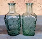 2 LIBBEY CANADA COLLECTIBLE PRESSED GLASS BOTTLES DECANTERS CRUETS, SAGE GREEN