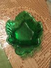 Anchor Hocking Maple Leaf Nappy Bowl Nut Candy Dish Forest Green Vintage Glass