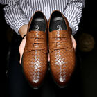 Mens Weaving Pattern Pointed Toe Leather Shoes Formal Dress Wedding Party New
